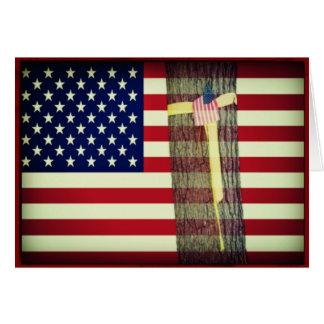 Carte Drapeau américain/carte de note militaire ruban