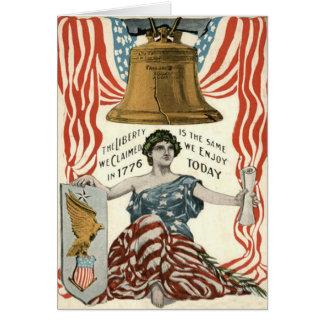 Carte Drapeau de Madame Liberty Bell USA 4 juillet