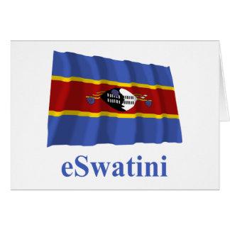 Carte Drapeau de ondulation du Souaziland avec le nom