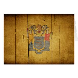 Carte Drapeau en bois rocailleux de New Jersey