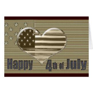 Carte Drapeau heureux et coeur des Etats-Unis du 4