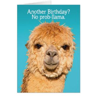 Carte Drôle aucune sagesse d'anniversaire de lama de