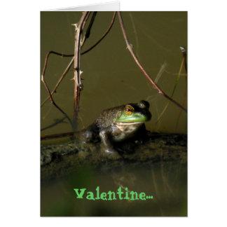 Carte Carte drôle de Valentine de grenouille verte