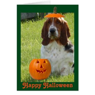 Carte drôle w/Cute Basset Hound de Halloween et