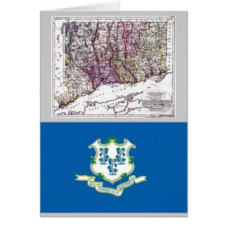Carte du Connecticut et drapeau d'état