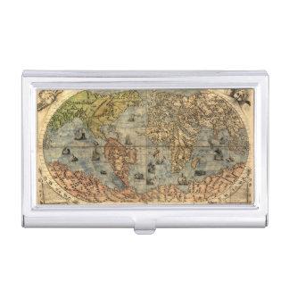 Carte du globe d'antiquité du monde boîtier pour cartes de visite