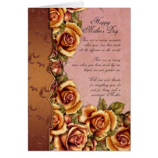 Carte du jour de mère avec des roses et des mots