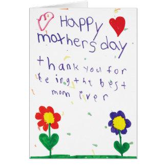 Carte du jour de mère avec l'art d'enfants