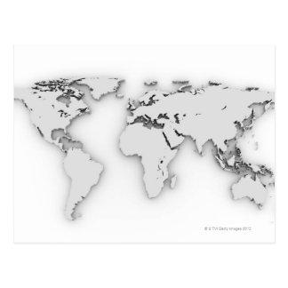 carte du monde 3D image générée par ordinateur Cartes Postales