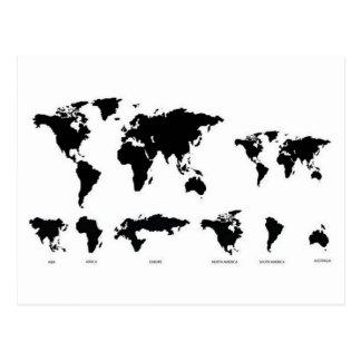 Carte du monde carte postale