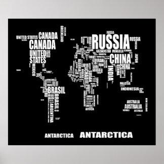 Carte du monde de typographie