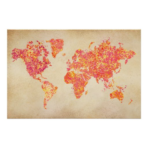 Carte du monde peinture d 39 action poster zazzle - Poster peinture ...