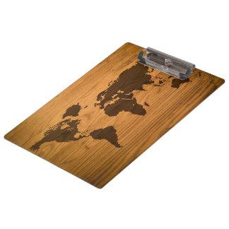 Carte du monde sur le grain en bois porte-bloc