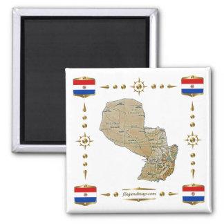 Carte du Paraguay + Aimant de drapeaux