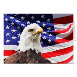 Carte Eagle chauve et drapeau américain