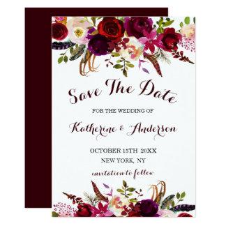 Carte Économies florales de mariage de Bourgogne Marsala