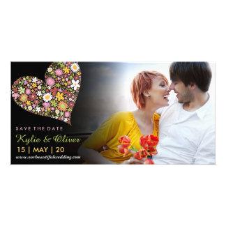 Carte Économies roses lunatiques de coeur de fleurs de