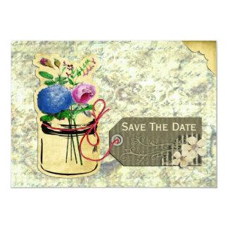 Carte économies vintages de pot de maçon de roses