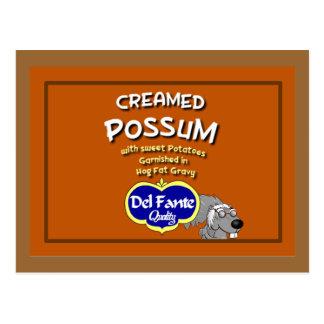 Carte écrémée de recette d'opossum