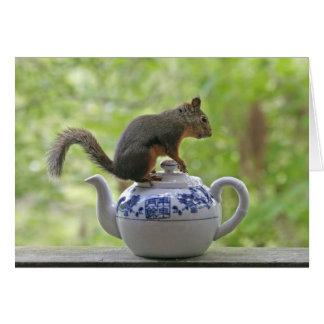 Carte Écureuil sur une théière
