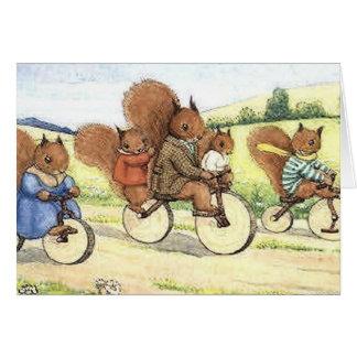 Carte Écureuils sur des vélos