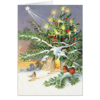 Carte Église d'arbre d'oiseau chanteur d'arbre de Noël