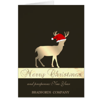Carte Elegant Black, Christmas Deer Santa Hat, Company
