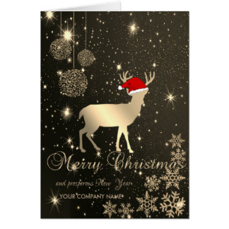 Carte Élégant, cerfs communs de Noël, flocons de neige,