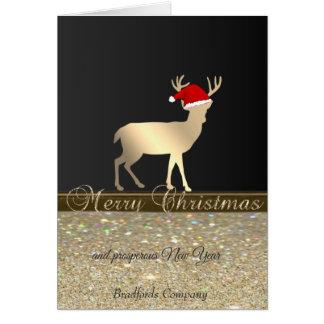 Carte Elegant, Christmas Deer Santa Hat, Glittery,