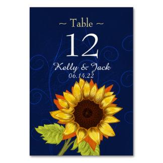 carte élégante bleue de table de tournesol