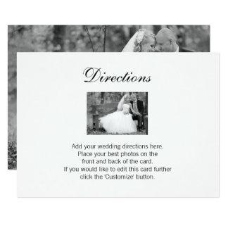 Carte élégante de directions de photo de mariage carton d'invitation  12,7 cm x 17,78 cm