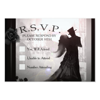 Carte élégante de la silhouette 3x5 RSVP de
