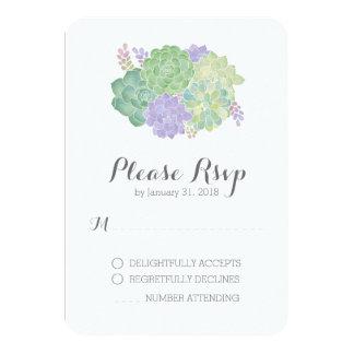 Carte élégante de réponse du bouquet succulent carton d'invitation 8,89 cm x 12,70 cm