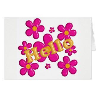 Carte Élément rose floral. Bonjour