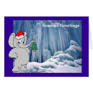 Carte Éléphant à la cascade congelée