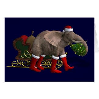 Carte Éléphant doux du père noël