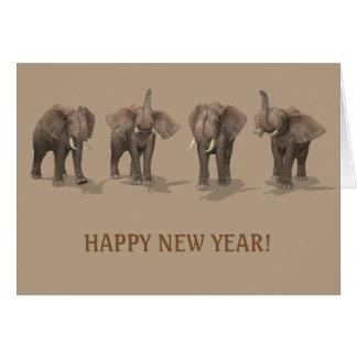 Carte Éléphants de la bonne année 2017