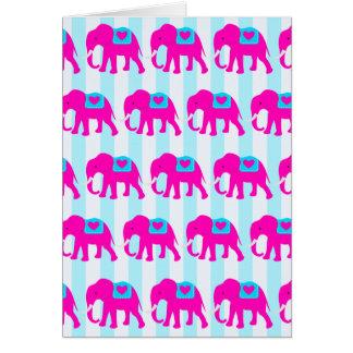 Carte Éléphants turquoises de bleu de turquoise de roses