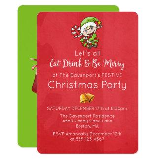 Carte Elf mignon avec l'invitation de Noël de canne de