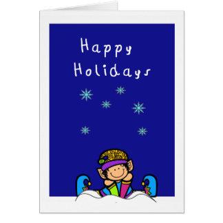 Carte elfe mignon dans la neige bonnes fêtes