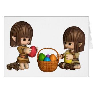 Carte Elfes mignons de Toon Pâques avec le panier des