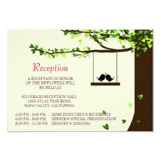 Carte en baisse de réception de chêne de coeurs carton d'invitation 8,89 cm x 12,70 cm