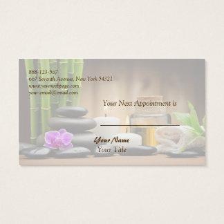 Carte en bambou de rendez-vous de massage de spa