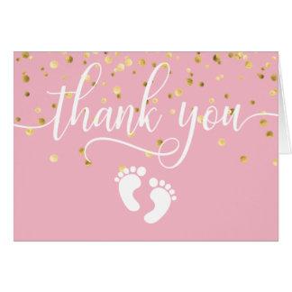 Carte EN BLANC de la FILLE | d'or de ROSE de baby shower
