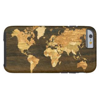 Carte en bois du monde coque iPhone 6 tough