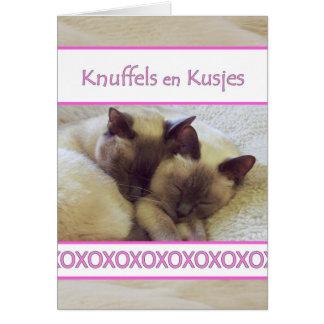 Carte En de Knuffels Kusjes, étreinte et baiser dans le