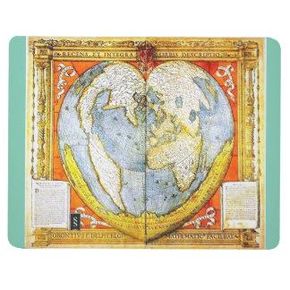 Carte en forme de coeur du monde carnet de poche