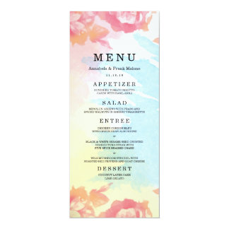 Carte en pastel de menu de mariage de bouquet carton d'invitation  10,16 cm x 23,49 cm