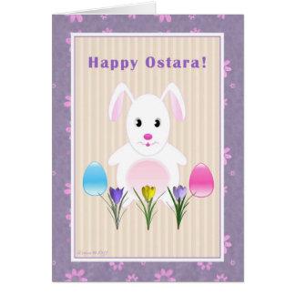 Carte Enfant - Ostara heureux - lapin d'Ostara
