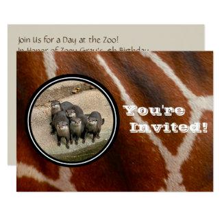Carte Enfants de fête d'anniversaire de zoo de loutres